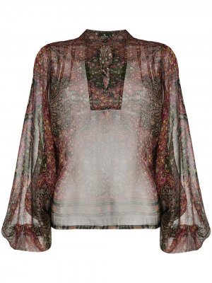 Блузка с воротником-стойкой и принтом пейсли Etro. Цвет: фиолетовый