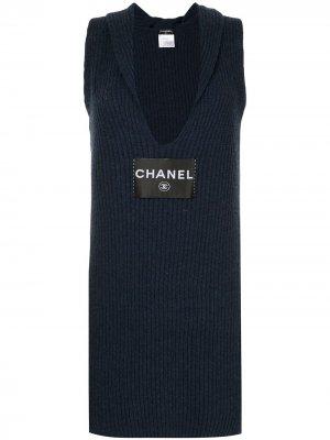 Облегающее вязаное платье с логотипом Chanel Pre-Owned. Цвет: синий