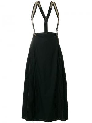Юбка со складками и подтяжками Jean Paul Gaultier Vintage. Цвет: черный