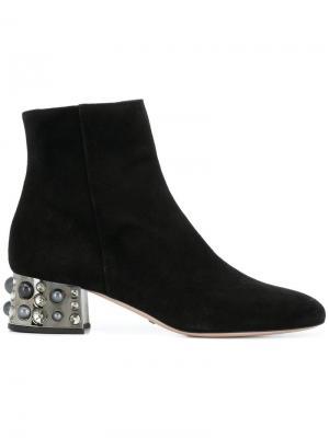 Ботинки на декорированном каблуке Sebastian. Цвет: черный