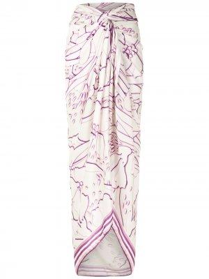 Длинная юбка-саронг с абстрактным принтом Amir Slama. Цвет: нейтральные цвета
