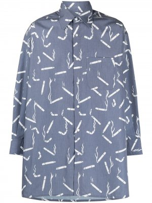Рубашка с заостренным воротником и принтом Viktor & Rolf. Цвет: синий