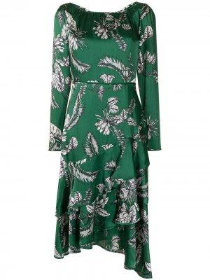 Коктейльное платье асимметричного кроя Marchesa Notte. Цвет: зеленый