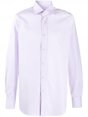Рубашка с длинными рукавами и закругленным подолом Kiton. Цвет: фиолетовый