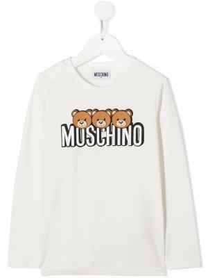 Топ с длинными рукавами и логотипом Moschino Kids. Цвет: белый