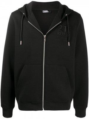 Толстовка на молнии с вышитым логотипом Karl Lagerfeld. Цвет: черный