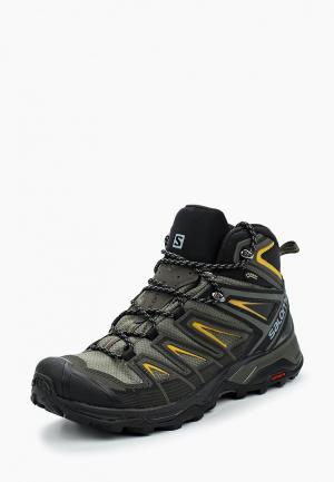 Ботинки трекинговые Salomon. Цвет: хаки