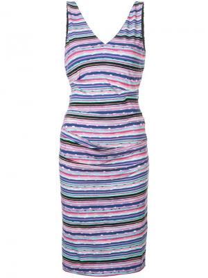 Платье миди в полоску с V-образным вырезом Nicole Miller. Цвет: розовый
