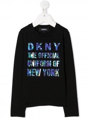 Толстовка с длинными рукавами и логотипом Dkny Kids. Цвет: черный