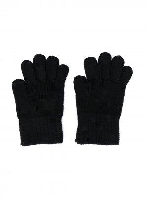 Перчатки с вышитым логотипом Dolce & Gabbana Kids. Цвет: черный