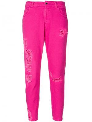 Укороченные джинсы с потертостями Marco Bologna. Цвет: розовый