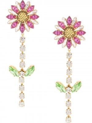 Серьги-подвески с цветочным дизайном Shourouk. Цвет: разноцветный