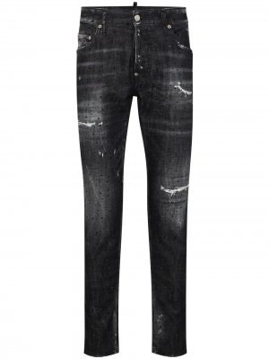 Зауженные джинсы с эффектом потертости Dsquared2. Цвет: черный