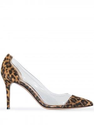 Туфли-лодочки с леопардовым принтом Gianvito Rossi. Цвет: коричневый