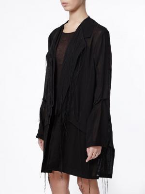 Облегченное пальто с бахромой Ann Demeulemeester. Цвет: чёрный