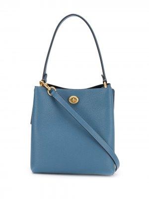 Объемная сумка-тоут Coach. Цвет: синий