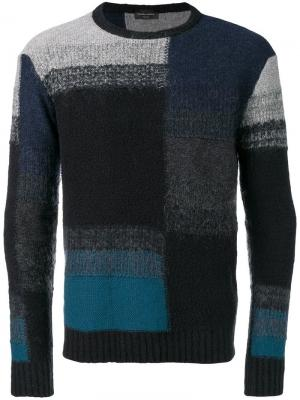 Трикотажный свитер дизайна колор-блок Roberto Collina. Цвет: черный