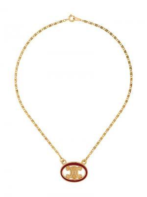 Цепочное колье с кулоном-логотипом Céline Vintage. Цвет: золотистый