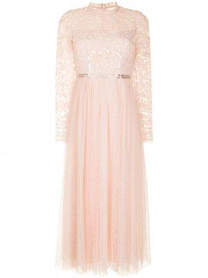 Платье с пайетками и вставками из тюля Needle & Thread. Цвет: розовый