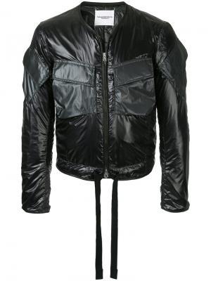 Куртка-бомбер без воротника с завязками Takahiromiyashita The Soloist. Цвет: черный