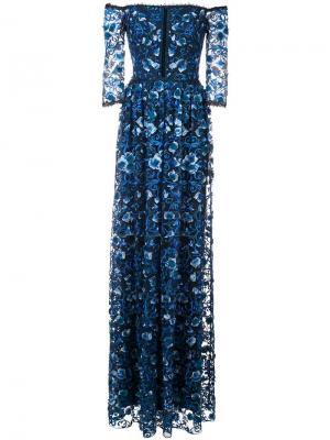 Платье со спущенными плечами и цветочным принтом Marchesa Notte. Цвет: синий