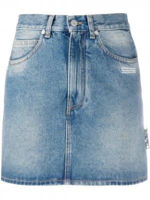 Джинсовая юбка с завышенной талией Off-White. Цвет: синий