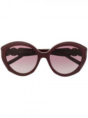 Солнцезащитные очки в оправе кошачий глаз Elie Saab. Цвет: красный