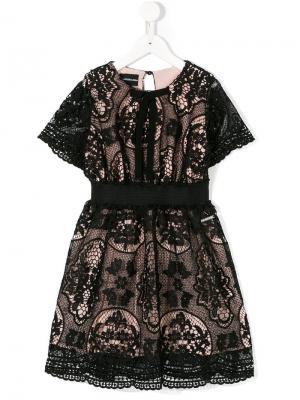 Платье из цветочного кружева Marco Bologna Kids. Цвет: черный