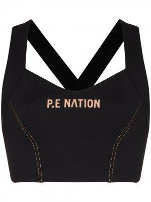 Спортивный бюстгальтер Elevation с логотипом P.E Nation. Цвет: черный
