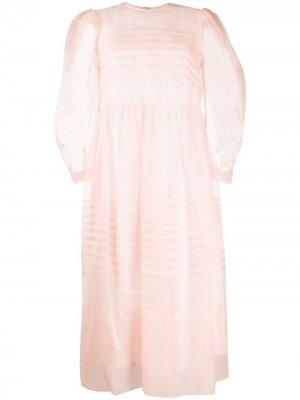 Полупрозрачное платье миди со вставками Simone Rocha. Цвет: розовый