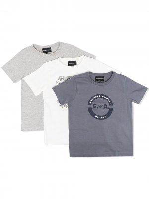 Комплект из трех футболок с логотипом Emporio Armani Kids. Цвет: серый