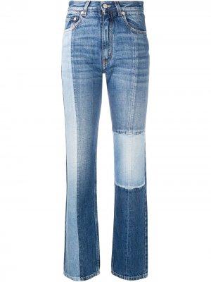 Прямые джинсы с завышенной талией в технике пэчворк Givenchy. Цвет: синий