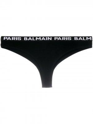 Трусы-брифы с логотипом Balmain. Цвет: черный