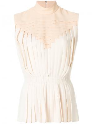 Плиссированная блузка без рукавов Marco De Vincenzo. Цвет: нейтральные цвета