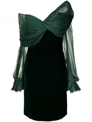 Коктейльное платье с открытыми плечами в стиле 1990-х Valentino Vintage. Цвет: зеленый