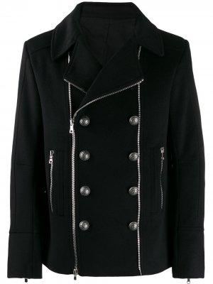 Пиджак с застежкой на молнии Balmain. Цвет: черный