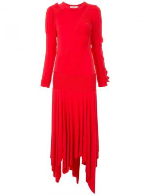 Платье-свитер с рюшами Preen Line. Цвет: красный