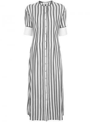 Платье-рубашка в полоску Yigal Azrouel. Цвет: серый