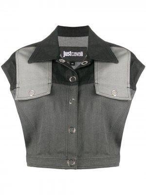 Укороченный джинсовый жилет Just Cavalli. Цвет: серый