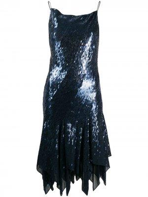 Платье асимметричного кроя с пайетками Donna Karan. Цвет: синий
