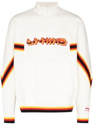 Толстовка с воротником на молнии и логотипом Li-Ning. Цвет: белый