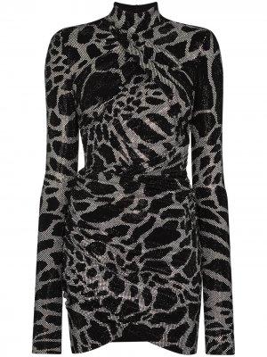 Коктейльное платье с запахом и блестками Alexandre Vauthier. Цвет: черный