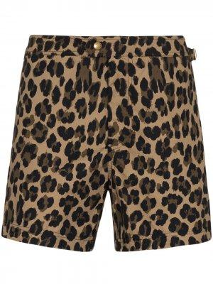 Плавки-шорты с леопардовым принтом Tom Ford. Цвет: коричневый