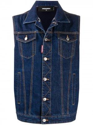 Джинсовая куртка без рукавов Dsquared2. Цвет: синий