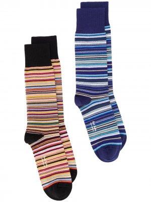 Комплект из двух пар носков в полоску PAUL SMITH. Цвет: синий