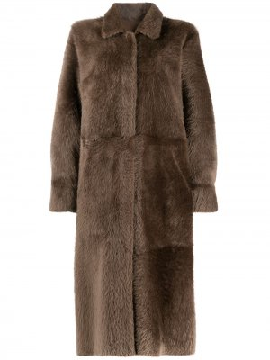 Двустороннее пальто средней длины Liska. Цвет: коричневый