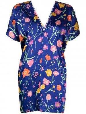 Блузка с V-образным вырезом и цветочным принтом Plan C. Цвет: синий