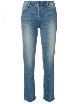 Укороченные джинсы с необработанными краями Current/Elliott. Цвет: синий
