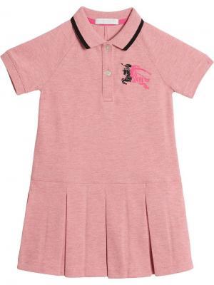 Платье-поло с контрастной отделкой воротника Burberry Kids. Цвет: розовый