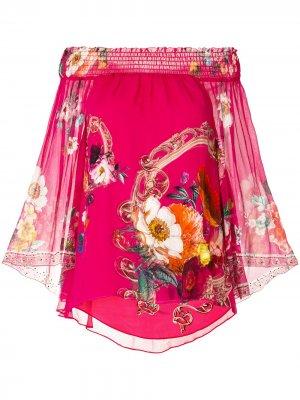 Блузка с открытыми плечами и сборками Camilla. Цвет: розовый